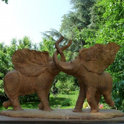 Deux éléphants - Grès - Acquisition de la ville de Villers-Cotterets