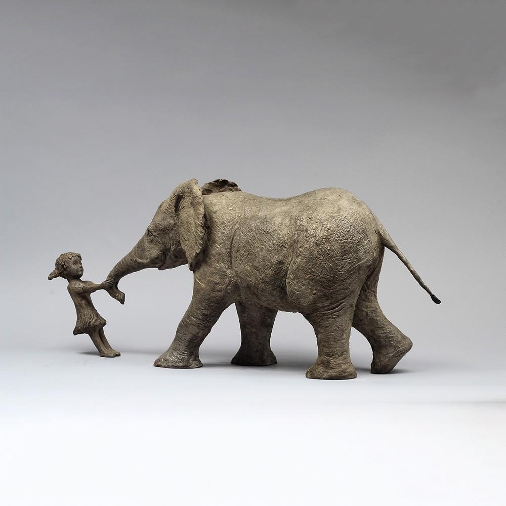 sculpture en bronze Viens jouer avec moi