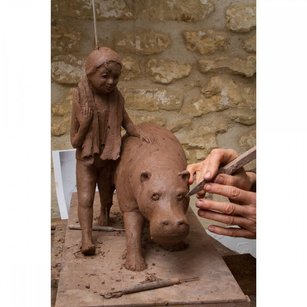Modelage de la Baignade, projet bronze