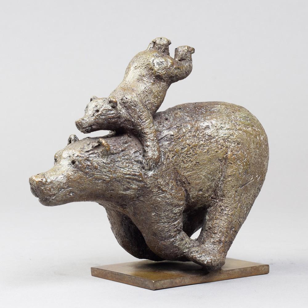 Quickly, sculpture animalière bronze ours de Sophie Verger